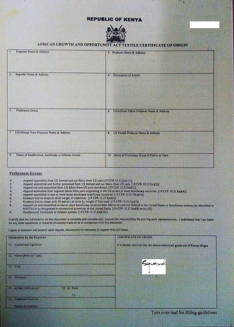 authenticated agoa certificate of origin