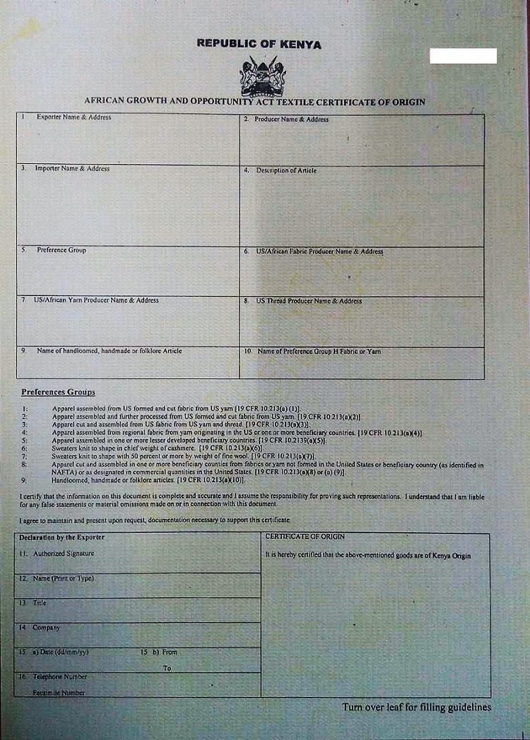agoa certificate of origin