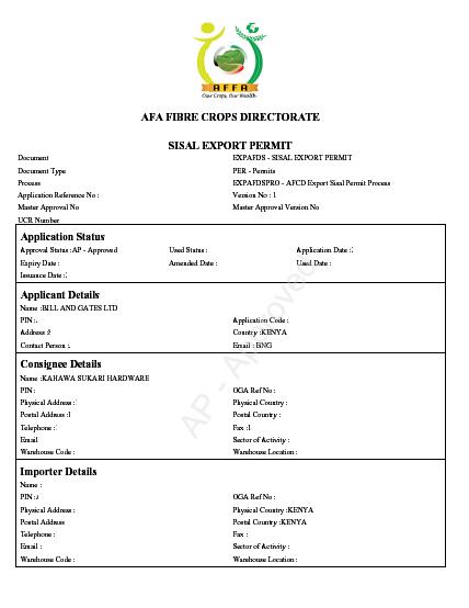 Sisal export permit