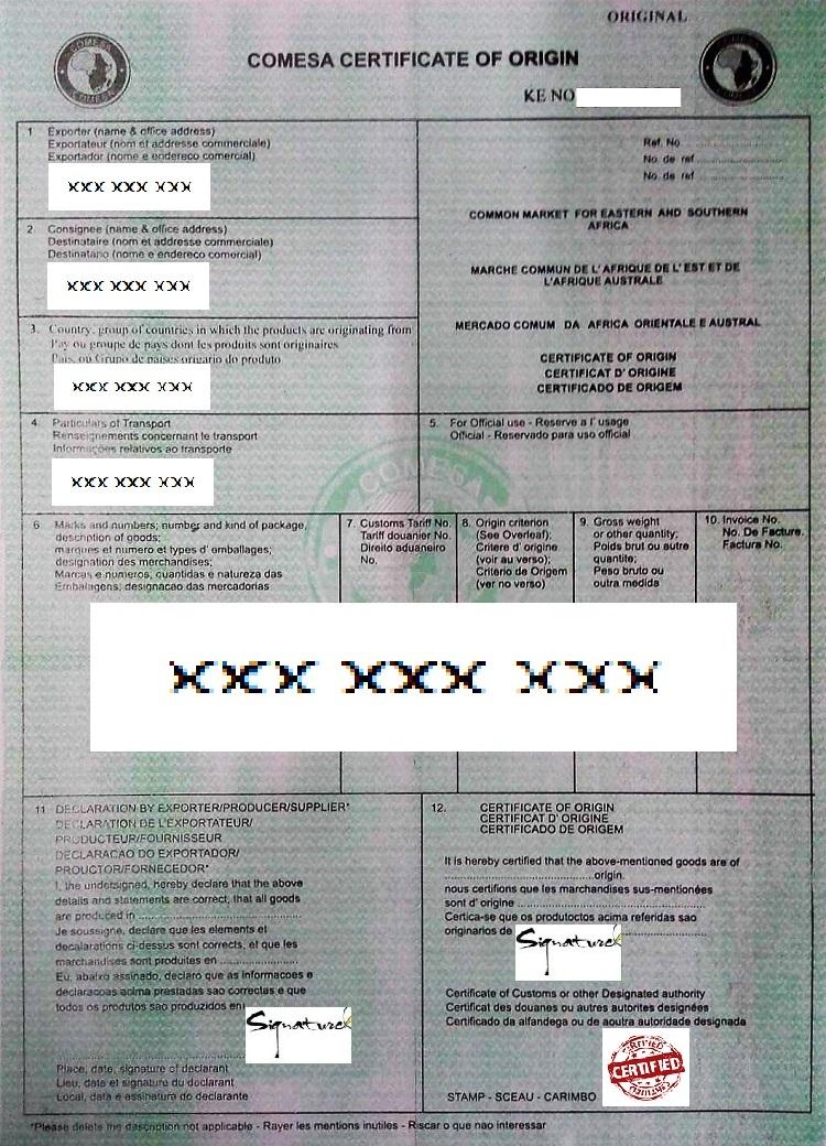 COMESA certificate of origin
