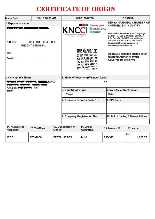 Obtain Certificate Of Origin