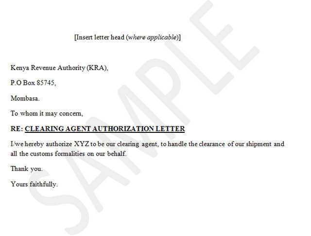 letter authorizing package release clearing authorization letter 17823 | Clearing%20agent%20authority%20letter