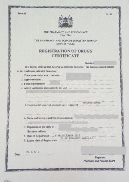 product registration certificate