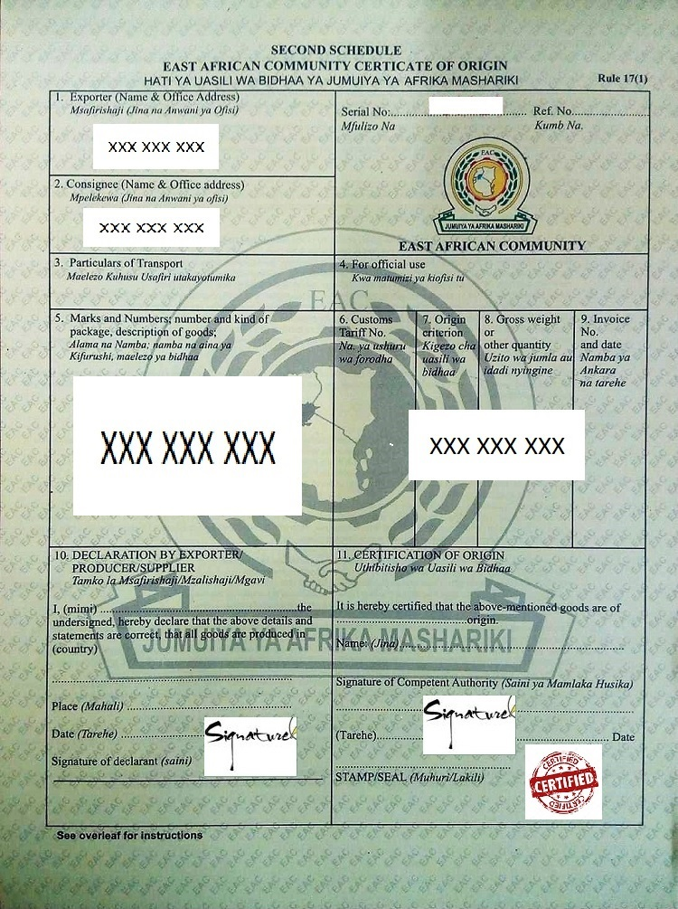 Eac Certificate Of Origin