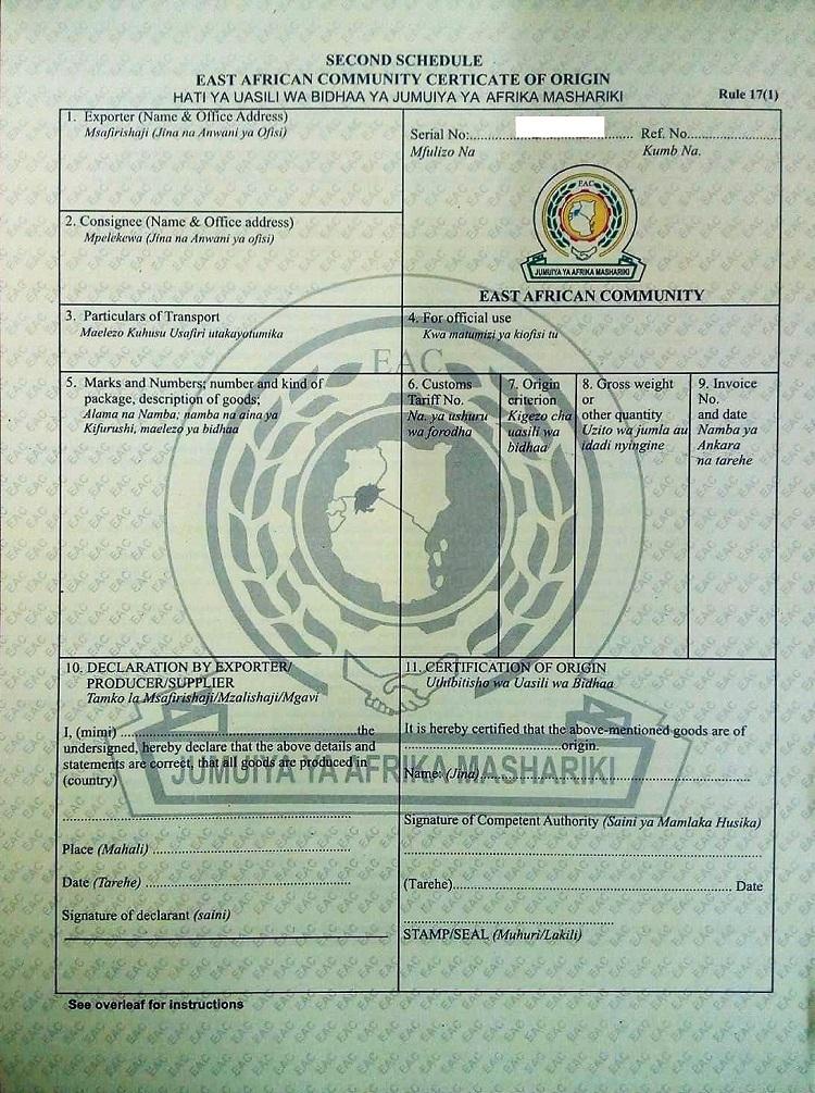 eac certificate of origin