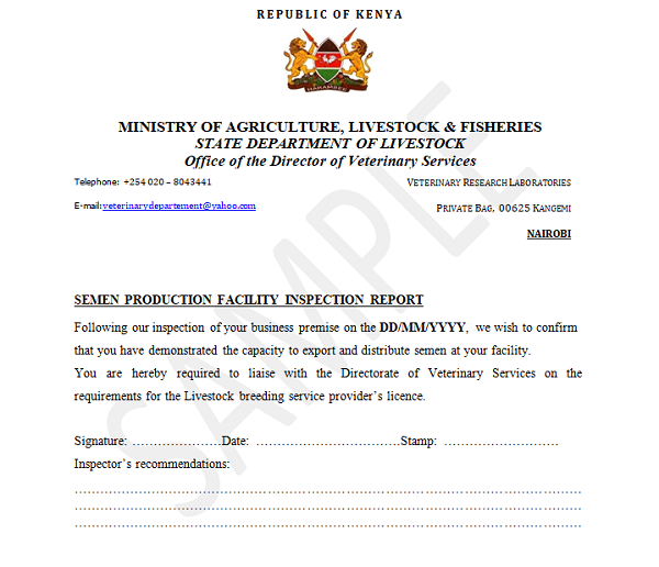 Livestock Breeding Services Provider S Licence