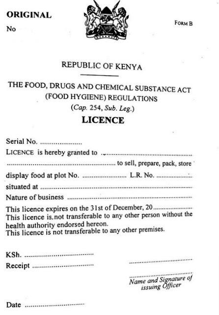 Food hygiene licence