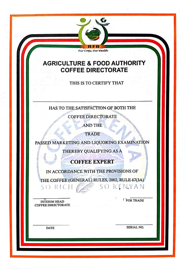 Coffee dealer's licence