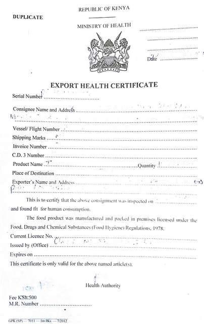 export health certificate
