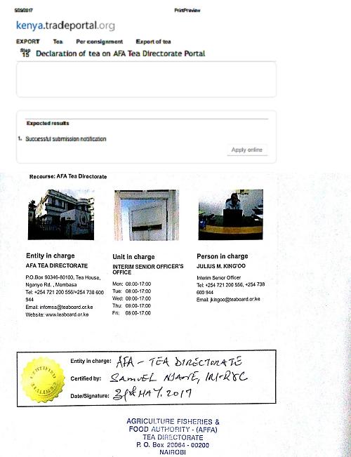 Declaration of tea on AFA Tea Directorate Portal