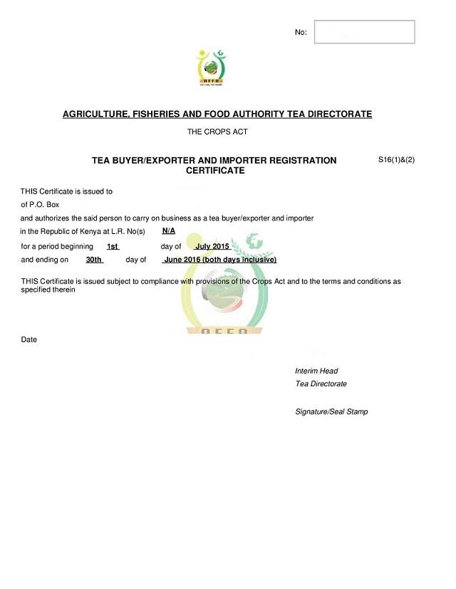 Tea buyer/exporter & importer licence