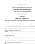 Application for registration of premises certificate tanneries