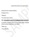 Clearing agent authorization letter