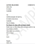 Clean coffee movement permit request letter