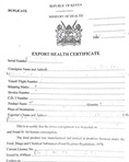 Export health certificate