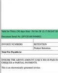 Product retention certificate invoice