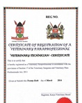 Veterinary paraprofessional registration certificate
