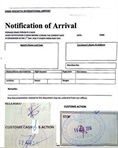 Release order stamped by customs border control