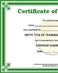 Leather certificate of training