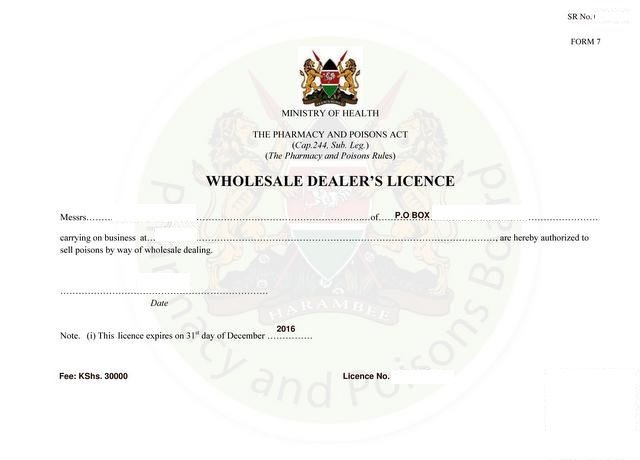 Wholesale dealer's licence