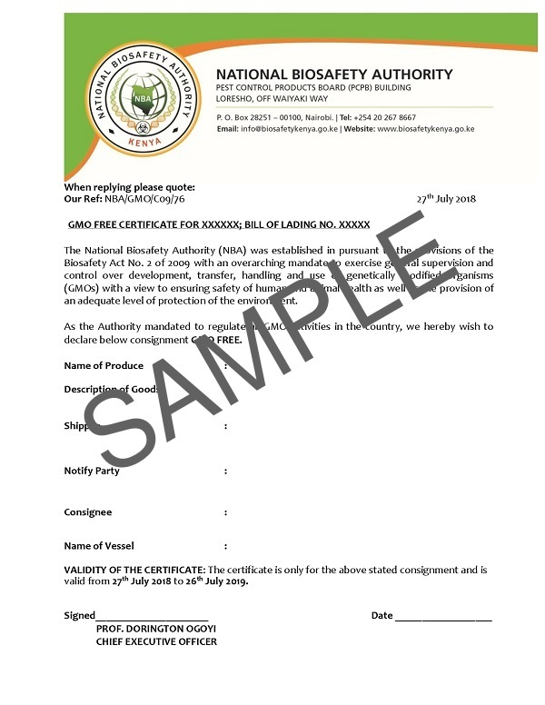 Obtain Genetically Modified Organism Gmo Free Certificate